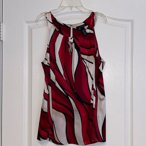 White House Black Market Silk Blouse 10 Red